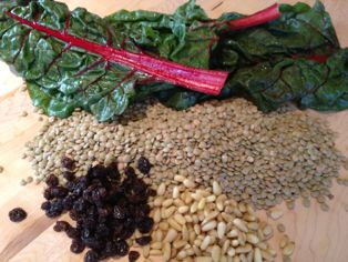 Lentils, Kale, Nuts, Currants