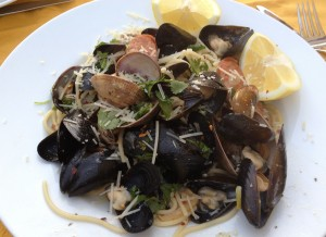 Clams, mussels, and linguica over linguini