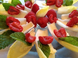 Endive with Raspberries, Mint & Mascarpone