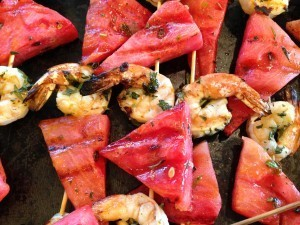 Grilled Prawns and Watermelon
